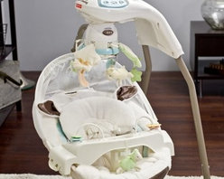Fisher-Price My Little Lamb Cradle Baby Swing - It'll be hard to believe that the peaceful innocent-looking lamb rocking in her Fisher-Price My Little Lamb Cradle Swing is the same roaring lion that keeps you awake all night. The six-speed swing can rock her side-to-side as if she were in your arms or back-and-forth to introduce her to playground fun. Eight tunes or nature sound tracks soothe her fussy nerves more successfully than your off-key warbling. The plush cozy cushions with adorable lamb ears cradle her in a comfortable cocoon that provides a calming sense of security.But don't worry this swing isn't just for sleepy infants. Even wide awake tots on the verge of tears will be engaged by the spinning mirrored mobile plush toy and bead bar. So go ahead and enjoy your little lamb before the magic wears off.Additional Features for Baby:Watching motion of floating clouds and little lambs on the mobile fosters visual tracking skillsSeeing baby's own reflection in the mirrored globe encourages self-recognition but hopefully not vanityRich fabrics and textures delight baby's tactile senseNature sounds and eight soothing musical selections strengthen baby's auditory skills and provide needed variety so Mom doesn't go crazyAlternating swinging motions calm your baby even as her mood changesRemovable tray with attached plush lamb and bead bar keeps older babies occupiedCanopy shades baby from bright lights and distracting peripheral sightsAdditional Features for Mom and Dad:Easy to convert to three different positions; just push a button and turn so baby can see new scenery or face youSturdy steel frame has legs that fold in for storage and portabilityChoose just swinging or any combination of swinging music and mobile to suit baby's changing preferencesBattery operated - requires 4 D batteries (not included)Weight capacity: 25 lbs.Developmental Guidelines:Use cradle swing from birth until a child becomes active and can climb out of the seat.About Fisher-PriceAs the mo