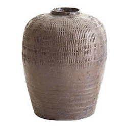 """SOY POT - """"We're soy glad to see you,"""" these might say while gracing your front entry console. They were once used to store soy sauce in shops throughout China, now they're a dramatic way to hold branches, add height to a table, or to nest with your other collectible pottery. Each one is handcrafted from ceramic with signature texturing that's common to these types of containers. Due to the nature of this product, each pot will vary slightly in size and tone."""