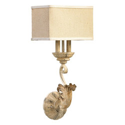 Quorum Lighting - Quorum Lighting Florence Traditional Wall Sconce X-07-2-7325 - From the Florence Collection, this Quorum Lighting wall sconce delights the eye using a blend of Old World and modern elements. The updated rectangular shade is made from a beautiful oatmeal colored fabric, which compliments the Persian White distressed finish. Acanthus leaves, candelabra lights and scrollwork complete the look.