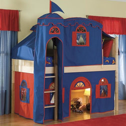 Bolton Furniture - Cottage Low Twin Loft Bed w Top Tent, Tower & Bottom Blue-Red Curtain - Includes twin headboard & footboard, birch side rail set, low loft kit, Blue & Red bottom curtains in front and two ends, top on Blue with Red trim, top frame and metal tower. Beds come complete with slat roll (no additional support necessary). Solid frame construction built to last. Bed assembly features barrel nut & bolt (metal to metal connections). Made of solid wood & veneers. Twin size bed. Natural finish. Assembly required. 1-Year warranty. 42 in. W x 79 in. D x 65 in. H. Bunk Bed Warning. Please read before purchase.. NOTE: ivgStores DOES NOT offer assembly on loft beds or bunk beds.