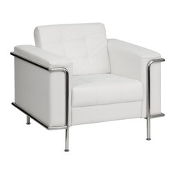 Flash Furniture - Flash Furniture Accent Chair X-GG-HW-RIAHC-0908-YELSEL-BZ - This attractive white leather reception chair will complete your upscale reception area. The design of this chair allows it to adapt in a multitude of environments with its tufted cushions and visible accent stainless steel frame. [ZB-LESLEY-8090-CHAIR-WH-GG]