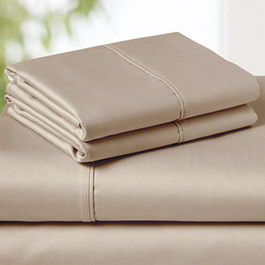 SNS LINENS INC - Taupe 850-Thread Count Egyptian Cotton Deep-Pocket Sheet Set - Wrinkle-free fabric maintains its elegance, while smooth, Egyptian cotton-blend construction provides inviting comfort. �� Includes flat sheet, fitted sheet and two pillowcases Fits mattresses up to 18'' deep 55% cotton / 45% polyester 850-thread count Machine wash; tumble dry Imported
