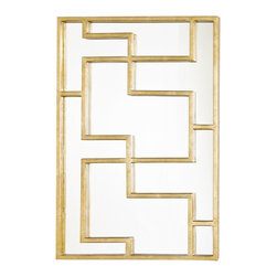 Worlds Away Lotus Rectangular Oriental Mirror Panel, Champagne Silver Leaf - Worlds Away Lotus Gold Leafed Rectangular Oriental Mirror Panel