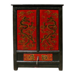 Golden Lotus - Chinese Red Dragons Side Table Nightstand Cabinet - This end table / nighstand has oriental accent dragons graphic on the red color doors.