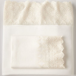 Pom Pom at Home - Two King Decorative Annabelle Lace-Edged Pillowcases - CREAM - Pom Pom at HomeTwo King Decorative Annabelle Lace-Edged Pillowcases