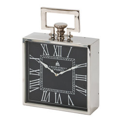 London Clock - Square Small - This classic style clock will add a unique and sophisticated look to any room.  Available in several sizes with a polished nickel finish and black clock face. It can be mounted on the wall or placed on a table or shelf.