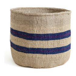 Blue and Purple Striped Basket - I love natural fibers. I'd use this to hold stuffed animals in a kids' room or throws in the living room.