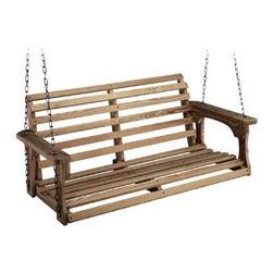 Beecham Swing Co. Roll Back Treated Wood Porch Swing - Create your own Zen moments by just swinging on an old-fashioned wooden porch swing. This one can be painted any color you want, or just leave it natural.