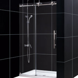 DreamLine - DreamLine Enigma-X Fully Frameless Sliding Shower Door and SlimLine - This DreamLine kit pairs the ENIGMA-X sliding shower door with a coordinating SlimLine shower base for a winning combination. The ENIGMA-X sliding shower door delivers a sleek, Fully frameless design, premium glass and high functioning performance for the look and feel of custom glass at an exceptional value. The coordinating SlimLine shower base incorporates a low profile design for an unobtrusive modern look. Go for the streamlined look and urban style of the ENIGMA-X frameless sliding shower door and coordinating SlimLine shower base for your bathroom renovation. Items included: Enigma-X Shower Door and 36 in. x 48 in. Single Threshold Shower BaseOverall kit dimensions: 36 in. D x 48 in. W x 78 3/4 in. HEnigma-X Shower Door:,  44 - 48 in. W x 76 in. H ,  Premium 3/8 (10 mm) thick clear tempered glass,  Brushed or polished stainless steel hardware finish,  Fully frameless glass design,  Width installation adjustability: 44 - 48 in.,  Out-of-plumb installation adjustability: No,  Advanced fully frameless glass design,  Effortless sliding operation with large wheel assemblies on a stainless steel track,  Includes anti-splash threshold to prevent water spillage (requires minimum threshold depth of 3 3/4 in.),  DreamLine exclusive Clear Glass protective anti-limescale coating,  Top bar may be shortened by cutting down up to 4 in. ,  Professional installation required,  Door opening: 16 - 20 in.,  Stationary panel: 23 1/8 in.,  Reversible for right or left door opening installation,  Material: Tempered Glass, Stainless Steel,  Tempered glass ANSI certified36 in. x 48 in. Single Threshold Shower Base:,  High quality scratch and stain resistant acrylic,  Slip-resistant textured floor for safe showering,  Integrated tile flange for easy installation and waterproofing,  Fiberglass reinforcement for durability,  cUPC certified,  Drain not includedProduct Warranty:,  Shower Door: Limited 5 (fiv