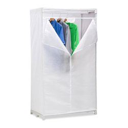 "Honey Can Do - 36"" Wardrobe - Breathable fabric cover- keeps clothes fresh. Zippered door- easy access. Coated steel frame- sturdy & rust-resistant. 36"" hanging space- store shirts, jackets, suits & dresses. 37.18 in. x 19.69 in. x 62.99 in."