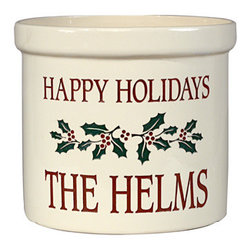 Whitehall Products LLC - Holiday Holly 2 Gallon Crock - Color: Multicolored