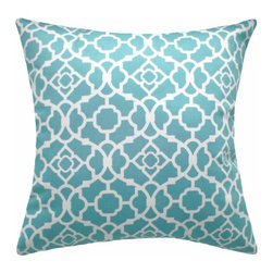 Land of Pillows - Waverly Lovely Lattice Aqua Decorative Blue Lattice Throw Pillow, 16x16 - Fabric Designer - Waverly