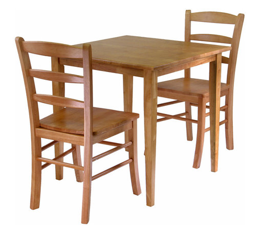 Winsomewood - Groveland 3-Piece Dining Set Square Table with 2 Chairs - Simple, relaxed and straight-forward describe this shaker-style dining table. The casual design will go with many styles of decor and will easily accommodate up to four chairs. A good option for chair style would be our light oak ladder-back dining chair.