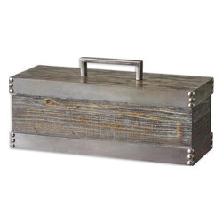 Uttermost - Lican Natural Wood Decorative Box - Natural wood box with a light chestnut stain and antiqued silver accents