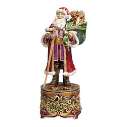 Jay Strongwater - Jay Strongwater Santa Claus Victorian Santa Musical Figurine - Jay Strongwater Santa Claus Victorian Santa Musical Figurine SDH1788-250  -  Size: 5 Inches Wide x 10.75 Inches Tall x 5 Inches Deep  -  Limited To 300 Pieces Worldwide  -  Hand Set With Swarovski Crystals  -  Hand Enameled Cast Pewter  -  Made In The U.S.A.  -  Jay Strongwater Item Number: SDH1788 250