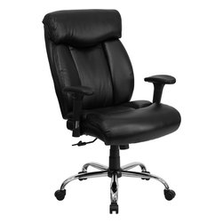 Flash Furniture - Flash Furniture Hercules Series 350 lb. Capacity Big & Tall Black Office Chair - Get the comfort needed to perform all work tasks in this stylish Big and Tall Office chair by Flash Furniture. This executive chair comfortably fits users up to 350 lbs. chair features Height adjustable arms, built-in lumbar support and a spring tilt mechanism. [GO-1235-BK-LEA-A-GG]