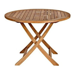 "Cambridge Teak 40"" Round Folding Table - Our cambidge folding café tables are mobile and convenient to store. The 40"" table comes with a wood finished center hole piece to accommodate an optional umbrella."