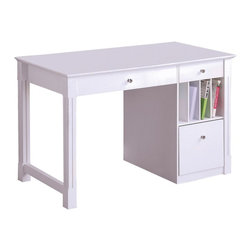 Walker Edison - Deluxe White Wood Computer Desk - Bring a touch of elegance to any room in your home with this beautiful, deluxe wood desk. Constructed from high-grade MDF with a beautiful painted white finish. Features a drop-down keyboard tray, hanging filing drawer, and file slots to provide you ample storage space.