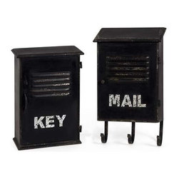 Alastor Key and Mail Boxes - Set of 2 - Inspired by industrial loft decor, the Alastor Key and Mail Boxes provide convenient small storage and vintage appeal.