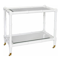 Worlds Away - Worlds Away - Palm White Bar Cart - PALM WH - Worlds Away touches the home with marvelous modern treasures inspired by vintage finishes, patterns and styles. Bamboo detailing along this rectangular bar cart's wooden frame delivers the eclectic furnishing a playful Palm Beach vibe. Set atop brass wheels for easy mobility and added functionality, the storage piece's lacquered white color accents living rooms and dining rooms with a chic shade. Two beveled mirror shelves lend the cart classic display surfaces. Wheels do not lock.