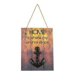 """Home is Where My Anchor Drops Wooden Plaque - The home is where my anchor drops plaque measures 10.75"""" x 14"""". This item is made of wood. It has a rope on top for easy hanging and features an anchor mounted in the center. It makes a great gift  works well in many decor environments."""