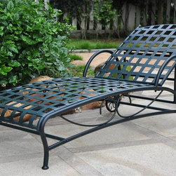 International Caravan - Single Patio Chaise Lounge in Vertigris Finis - All weather resistant coating. Four multi-positions. Equipped with wheels for easy transportation. UV light fading protection. Made from pure premium wrought iron. Assembly required. 23 in. W x 27 in. H x 24.5 in. H (36 lbs.)