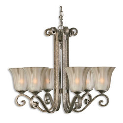 Uttermost - Uttermost Lyon 1 Tier Chandelier in Silver Leaf - Shown in picture: Heavily Antiqued - Mottled Silver Leaf. The Glass Shades Are Heavily Frosted With Clear Stripes. Combining warm silver and flowing etched glass - the Lyon collection is reminiscent of the Old World art of metal forging and blown glass.