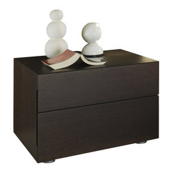Rossetto - Rossetto Sound 2 Drawer Night Stand in Wenge - Rossetto - Nightstands - T286200000006 -The sound nightstand provide adequate storage while accenting the appeal of the room. This night stand will make a great match to the Pavo Milk Bed (separately).