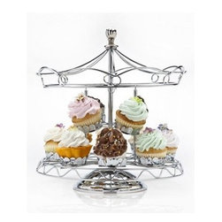 Godinger Carousel 12 pc. Cupcake Holder - The second you saw it, you knew you had to have the Godinger Carousel 12 pc. Cupcake Holder. An adorable addition to any party, this decorative carousel-styled stand revolves for a huge style impact and is made of chrome-plated metal. It displays 12 cupcakes and is a masterpiece.About GodingerBased in Ridgewood, N.Y., Godinger has been creating distinctive kitchenware, home decor, and gifts for over 40 years. Hand-crafted from crystal, pewter, and silver, Godinger's unique wedding gifts and home decor make any special occasion even more meaningful. From serving dishes and silverware, to barware and centerpieces, their wide tableware selection puts the art back into dining. Godinger is committed to providing excellent quality and style at affordable prices for every customer.