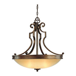 """Minka Lavery - Iron Atterbury Collection 25"""" Wide 3-Light Pendant Chandelier - The Atterbury bowl chandelier offers a warm look for your home decorating. It features lovely Venata de Oro art glass and a Deep Flax Bronze scroll arm frame. From the Minka Lavery pendant chandelier lighting collection. Takes three 100 watt bulbs (not included). 25"""" wide. 25 1/2"""" high.  Atterbury Collection pendant chandelier.  Venata de Oro art glass bowl.  Deep Flax Bronze finish.  By Minka.  Takes three 100 watt bulbs (not included).   25"""" wide.   25 1/2"""" high."""