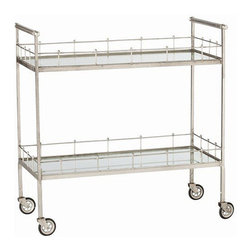 Arteriors Home - Arteriors Home Lisbon Vintage Silver/Glass Bar Cart - Arteriors Home 6526 - You can create an instant party when you take this elegant, vintage glass bar cart for a spin. Load it up with glasses, ice, mixers and drinks as well as appetizers and finger food. You'll bring the party to your guests. Chin, chin!