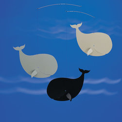 Flensted Mobiles - Happy Whales Mobile in Black & Gray - Happy Whales Mobile in Black & Gray