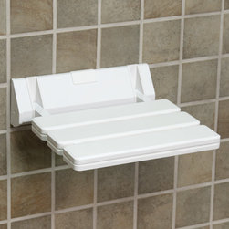 Wall-Mount Folding Shower Seat with Angular Bracket - White - Make bathing easier with this convenient Wall-Mount Folding Shower Seat with Angular Bracket. This compact shower seat is great for everyday use and provides additional stability and support during your shower.