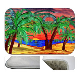 Sun Set Fire Plush Bath Mat, 30X20 - Bath mats from my original art and designs. Super soft plush fabric with a non skid backing. Eco friendly water base dyes that will not fade or alter the texture of the fabric. Washable 100 % polyester and mold resistant. Great for the bath room or anywhere in the home. At 1/2 inch thick our mats are softer and more plush than the typical comfort mats.Your toes will love you.