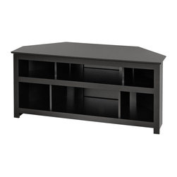 Prepac - Vasari Corner TV Console - Six storage compartments. Center compartments stores standard sized audio-video components. Side compartments for small components, DVDs, game consoles and more. Cutouts in sturdy MDF backer provides cable management and ventilation. Holds flat panel plasma or LCD TVs upto 150 lbs.. Tip tested to stringent UL 1678 standards. Warranty: Five years. Made from CARB-compliant, laminated composite woods. Durable deep black laminate finish. Made in North America. Minimal assembly required. Center compartments: 21.5 in. W x 17.75 in. D x 8 in. H. Side compartments: 10.75 in. W x 8 in. D x 8 in. H. Overall: 48 in. W x 20 in. D x 22 in. HDisplay your TV and components together with the modern Vasari Corner Flat Panel Plasma/LCD TV Console. It�۪s the perfect addition to your home!