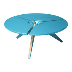 New Breed - New Breed Round Coffee Table - Reach for the skies with this piece of modern sculpture in your room. It features three circular hunks of solid wood expertly joined to tapered legs, creating cutouts and visual interest. At coffee table height, it's finished in bright sky blue with natural details.