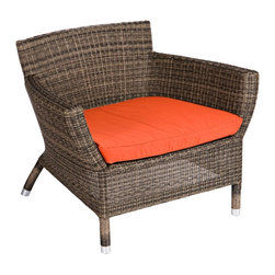 "Lamps Plus - Contemporary Osiris Collection Cayenne Wide Outdoor Low Armchair - Accent your part of the great outdoors with this stylish outdoor armchair. The design is part of the Osiris furniture collection and features a sturdy aluminum frame and all-weather Viro wicker. The look is ideal for pool areas or for outdoor seating arrangements. Includes a warm cayenne water-resistant Sunbrella fabric cushion. Low armchair design. Ideal for outdoor porches and patios. Aluminum frame. All-weather Viro wicker. Includes Grade C Sunbrella fabric cayenne cushion. Cushion is water-resistant for outdoor use. 37"" wide. 32"" deep. 32"" high.  Low armchair design.  Ideal for outdoor porches and patios.  Aluminum frame.  All-weather Viro wicker.  Includes Grade C Sunbrella fabric cayenne cushion.  Cushion is water-resistant for outdoor use.  37"" wide.  32"" deep.  32"" high."