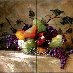 The Tile Mural Store (USA) - Tile Mural - America'S Bounty - Kitchen Backsplash Ideas - This beautiful artwork by Malenda Trick has been digitally reproduced for tiles and depicts an elegant fruit bowl.  Our kitchen tile murals are perfect to use as part of your kitchen backsplash tile project. Add interest to your kitchen backsplash wall with a decorative tile mural. If you are remodeling your kitchen or building a new home, install a tile mural above your stove top or install a tile mural above your sink. Adding a decorative tile mural to your backsplash is a wonderful idea and will liven up the space behind your cooktop or sink.