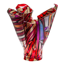 Art Glass Design Studio - Fire Vase Art Glass Sculpture - Kiln-formed art glass vase sculpture. Varda uses glass much like a quilter uses fabric; creating a glass canvas from bits and pieces of glass, that is fired, cut and used again in a new design, using layers of color and texture to create depth in a piece of art.