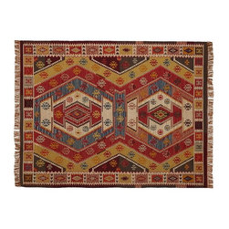 Gianna Recycled Yarn Kilim Indoor-Outdoor Rug - If you love the look of an antique kilim rug, then you're going to fall hard for this recycled yarn multicolored beauty. It is yarn-dyed to provide long-lasting color, and the fringe offers a comfortable indoor look outside.
