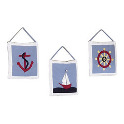 Sweet Jojo Designs - Come Sail Away Wall Decor - The Come Sail Away Wall Decor by Jojo Design include 3 wall hangings that will add a designers touch to any childs room! These childrens wall hangings are handcrafted with care and will brighten any childs room or nursery.