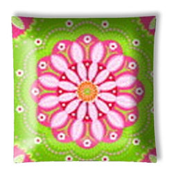 """Gypsy Bandana Pink and Green Floral Ceiling Light - 12"""" square semi flushmount ceiling lamp with designer finish. Includes complete installation instructions and complete light fixture. Wipes clean with a damp cloth. Uses 2-60 watt bulbs (not included) and is made with eco-friendly/non-toxic products. This is not a licensed product, but is made with fully licensed products."""