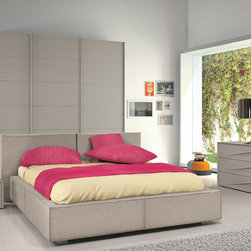 Made in Italy Leather Elite Modern Bedroom Sets with Extra Storage - Modern Italian bedroom furniture in dark grey finish w linen bed. Prime Classic Design offers a wide variety of modern bedroom furniture elements which can be combined to create the perfect bedroom for your home.