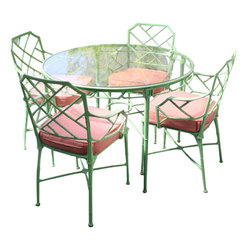 Metal Bamboo Patio Set Dinette - This would make a fabulous chinoiserie green DIY project. Paint a vintage faux-bamboo patio set in spring green and add terry Sunbrella cushions in the color of your choice. Preppy pink and green are used here.