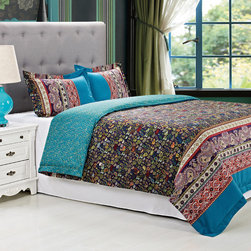 None - Rosewood Cotton 300 Thread Count 3-piece Duvet Cover Set - Rows of over-sized and small paisley patterns combine to form this eye-catching and colorful abstract duvet cover set,accented with two matching shams. Crafted with cotton,this eclectic bedding is machine washable for easy clean up.