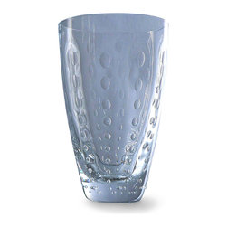 Clear Drops High Ball Glass - Clear - Beauty in drinkware comes from the perfect pairing of a handcrafted shape with a liquid catching the light, and the Clear Drops High Ball Glass, a tapered tumbler with a delightful glimmering raindrop pattern, perfectly exemplifies this fusion in a fine, sweeping shape. Each glass's pattern of optic dots is slightly different due to its handmade quality.