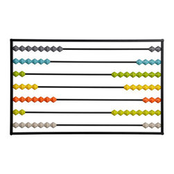 "Abacus Wall Art - The childlike quality of this clever piece of art from CB2 is streamlined with its modern colors and incredibly simple design. It's perfect in almost any room—from an office to a child's bedroom. And I love how it comes disassembled, so you can customize the colors/amount of beads any way you want! Dimensions:36""W x 1.5""D x 22.5""H"