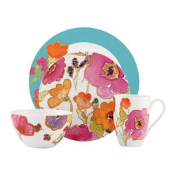 Lenox - Lenox Aqua Floral Fusion 4 Piece Place Setting - Add a touch of style to your kitchen with this four-piece dinnerware set from Lenox. A floral pattern highlights this dinnerware set.