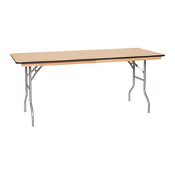 PRE Sales - Wooden Banquet Table (72 in. Metal) - Choose Size and Edge: 72 in. MetalBirch plywood top. Automatic locking legs. Tested lead-free. Top and bottom with polyurethane finish. 3 years limited warranty. 72 in. L x 30 in. W (70 lbs.). 96 in. L x 30 in. W (80 lbs.)