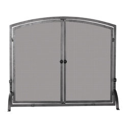 Uniflame - Uniflame S-1146 Single Panel Olde World Iron Screen w/ Doors - Medium - Single Panel Olde World Iron Screen w/Doors - Medium belongs to Fireplace Accessories Collection by Uniflame